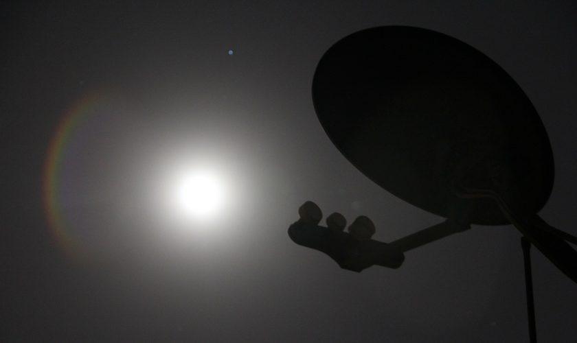 Satellite Dish Night Moon Technology Antenna
